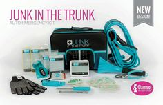 """Junk In The Trunk Roadside Kit Be prouder than ever of the junk in your trunk with this kit that contains everything you would need for a roadside """"HERmergency!""""  http://www.mydamselpro.net/PRO6579/  Features:  Jumper Cables 5-in-1 waterproof whistle compass Battery-free LED Flashlight Gloves with grips Waterproof matches 2 emergency blankets 2 adult-sized rain ponchos Heavy-duty ice scrapper Tool Set Tire pressure gauge First aid kit Price: $65.00"""