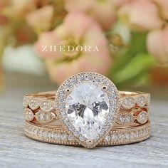 Pear Shape Engagement Ring Set Art Deco & Channel Set Bands