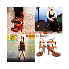 Katie McGrath - Vivenne Westwood Patent Leather Croc and Canvas Buckle Boots (Bondage Boots)