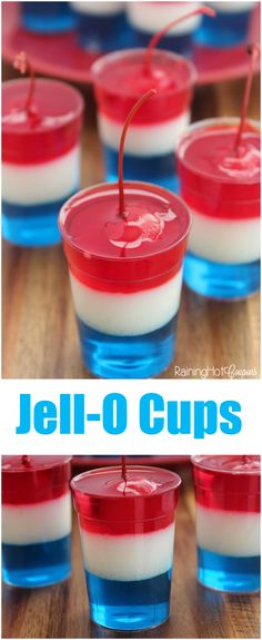 Red White & Blue Jell-O Cups of July Recipe) - Raining Hot Coupons 4th Of July Desserts, Fourth Of July Food, 4th Of July Celebration, 4th Of July Party, Holiday Desserts, Holiday Treats, Holiday Recipes, Patriotic Party, Fourth Of July Recipes