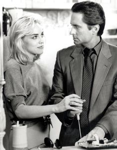 Sharon Stone and Michael Douglas in Basic Instinct