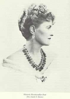 Marjorie Merriweather Post, a wealthy American lady who had a love of jewels, and acquired a large diamond floral tiara, originally owned by the Methuen family. This piece is now in the Smithsonian Museum
