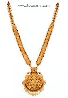 Gold in Lakshmi Kasu Long Necklace (Temple Jewellery): Totaram Jewelers: Buy Indian Gold jewelry & Diamond jewelry Moon Jewelry, Fine Jewelry, Jewelry Sets, Clean Gold Jewelry, Temple Jewellery, Jewelry Patterns, Gold Bangles, Necklace Designs, Gold Pendant