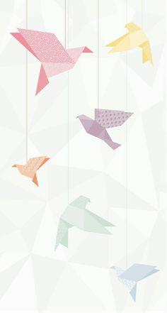 paper birds, pastel, blue, pink, purple, orange, yellow