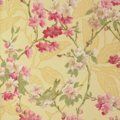 Birdsong Wallpaper    £51.00 per roll    Wallpaper of small birds on pink and creamblossom on yellow background  Width 52 cms x 10 metres  Pattern Repeat 61 cms  Care Spongeable  NOTE Matching fabric available