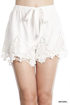 White Lace Drawstring Shorts! Perfect for Spring & Summer!