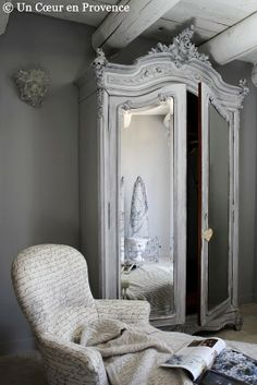 Superieur Dove Gray Home Decor ♅ French Armoire In Grey. Love The Script Fabric Chair