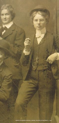 Group of women smoking and wearing men's clothing, about 1896. Dr Sauvage