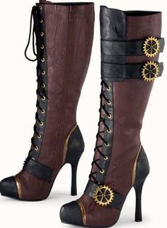 Steampunk Shoes for Women. Knee-high boots,ankle boots,platform shoes and elegant pumps. Party like a Neo-Victorian lady in these Steampunk inspired shoes Steampunk Shoes, Steampunk Outfits, Style Steampunk, Steampunk Cosplay, Steampunk Wedding, Victorian Steampunk, Steampunk Clothing, Steampunk Necklace, Steampunk Mechanic