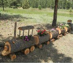 Train Log planter