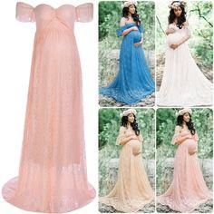 $8.49 - Maternity Evening Dress Lace Bardot Off Shoulder Babyshower Wedding Pregnancy #ebay #Fashion