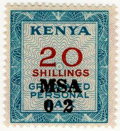 Kenya Graduated Personal Tax 20s 1966
