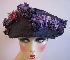 Edwardian Hat Ca 1905 Rare Bright Purple Silk With Applied Lilac Flowers