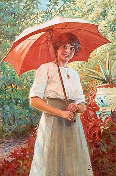 View Det röda parasollet The Red Parasol by Jenny Nyström on artnet. Browse upcoming and past auction lots by Jenny Nyström. Munier, Contemporary History, I Love Rain, Red Umbrella, Illustration Artists, Woman Painting, Art Pages, Kalmar