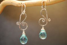 Squiggle earrings with choice of stone Victorian 228
