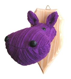 Hippo fauxidermy Textile head Home decor Faux purple hippo head Xmas gift Fake Taxidermy Animal Decorative Natural Fiber Mounted Gift Idea Textile hippo head on typical wooden mat used to exhibit hunting trophies. Wooden mat: 8.2 × 4.3 (20.8 × 11 cm) Length of hippos jawas: approx. 5.9 (15 cm) Handmade with love in a smoke-free house. Ready to ship. Please check dimensions carefully. Due to lighting conditions and monitor settings, colors may appear slightly different, than they are....