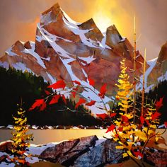 Painting by Michael O'Toole Watercolor Landscape, Abstract Landscape, Landscape Paintings, Watercolor Art, Mountain Paintings, Canadian Artists, Contemporary Artists, Land Scape, Painting Inspiration