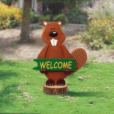 Eager-Beaver Greeter DIY Woodcraft Pattern #2087 - Layered welcome sign joyfully…
