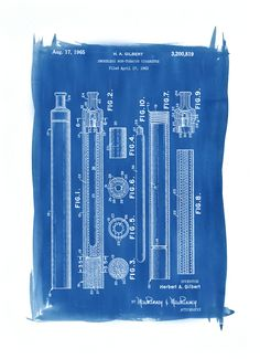 Cyanotype print of an early electronic cigarette patent made by reddit user Doshinski