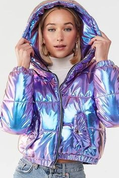 Product Name:Iridescent Metallic Puffer Jacket, Category:outerwear_coats-and-jackets, Holographic Jacket, Holographic Fashion, Metallic Jacket, Puffer Jackets, Women's Jackets, Bomber Jackets, Fall Jackets, Denim Jackets, Leather Jackets