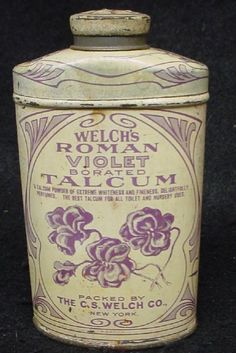 Old Welch's Roman Violet Talcum Powder Tin
