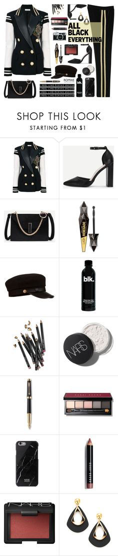 """""""Romwe.All Black Everything."""" by imurzilkina ❤ liked on Polyvore featuring Faith Connexion, Bobbi Brown Cosmetics, Parker, NARS Cosmetics, Anna Sui, romwe and allblackoutfit"""