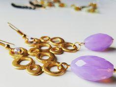 Modern Earrings. Dangle, Tear Drop Earring, Delicate Earrings, Dainty Earrings, Gold Drop, Purple, Christmas gift. by SolCreationsStore on Etsy