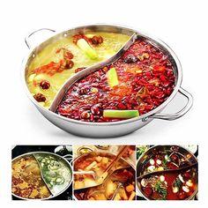 Casserole Cooking Tool 2 Grid 2 Taste Stainless Steel Hot Pot Mandarin Duck Soup Pot