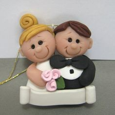 Wedding Ornament First Christmas Together polymer by clayinaround
