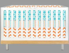 Modern Baby Aqua and Orange Geo (Modern Custom Crib Set). $315.00, via Etsy.