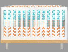 Modern Baby Aqua and Orange Geo (Modern Custom Crib Set). $315.00, via Etsy.