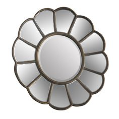 Verona Floral Wall Mirror, Metal / Mirrored Glass, Gold