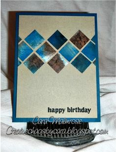 The last of the scraps from DP I made using glossy card stock and re-inkers. For this card I took the scrap pile I had left and punched out squares. Not much left but confetti! It is destined for a co-worker celebrating his birthday today!