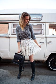 """We dig how @Michelle Madsen of """"Take Aim"""" layers UO's sweater with a lace dress #urbanoutfitters #uoonyou"""