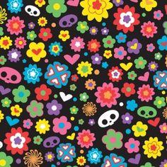 Fabric rehab - skelanimals-flower-hearts-black