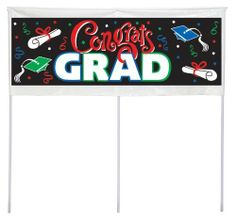 "Congrats Grad - Graduation Lawn Banner Party Accessory Unknown. $8.99. 3.50"" wide. Design is stylish and innovative. Satisfaction Ensured.. Manufactured to the Highest Quality Available.. 0.75"" high. Great Gift Idea.. Includes (1) banner measuring 20"" tall x 48"" wide and (3) yard stakes."