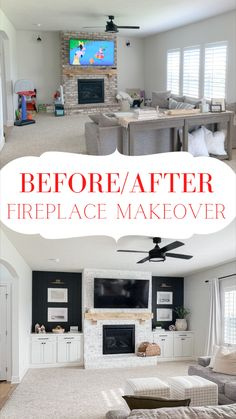 Fireplace Bookshelves, Brick Fireplace Makeover, Home Fireplace, Brick Fireplace Paint, Painting A Fireplace, Fireplace In Living Room, Fireplace With Cabinets, White Painted Fireplace, Above Fireplace Ideas