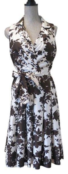 Elizabeth Howard Dress Retro Rockabilly Floral Fitted V Neck Size 10 Sundress #ElizabethHowrd #Sundress #Festive