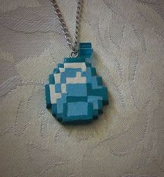 8Bit Minecraft Diamond Necklace Polymer Clay by Creativationary, $11.95