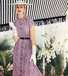Alice Bruno wearing a dress by Nelly Don 1954