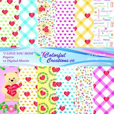 I Love You Mom Digital Papers,Mother's Day Digital Papers,Teddy Bear Digital Papers, Hearts, Plaid, Flower Wreath, Personal & Commercial Use Newborn Headbands, Baby Girl Headbands, Baby Girl Gifts, Baby Bows, I Love You Mom, My Love, Digital Papers, Baby Shower Gifts, Scrapbook