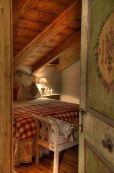 Cosy Little Bedroom under the Eaves ~ Red & White Check Quilt, White Furniture & a Floral Painted Door .... #FashionYourHome