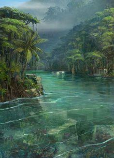 Unchartered Drake's Fortune Concept Art Konzeptkunst SteamPunk Fas …. Fantasy Art Landscapes, Fantasy Landscape, Fantasy Artwork, Landscape Art, Beautiful Landscapes, Landscape Concept, Fantasy Places, Fantasy World, Jungle Art