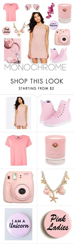 """Tickled Pink"" by miss-aarohi ❤ liked on Polyvore featuring Foxiedox, Dr. Martens, Topshop, ECCO, Hightide Devon, Fujifilm and Oliver Peoples"