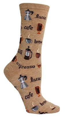 "No need to be ashamed of your caffeine addiction, or your amazing coffee socks! Crew length socks with all things coffee, including words like ""cafe,"" ""brew,"" and ""latte"" - available in natural, hemp, or black. Fits a women's shoe size 5-10."