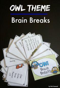 Brain Breaks With An Owl Theme.  How fun and so cute!