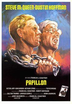 1973 - Papillon - Um homem faz amizade com um colega criminoso como os dois começar a cumprir sua pena em uma ilha prisão terrível, que inspira o homem a planear sua fuga.