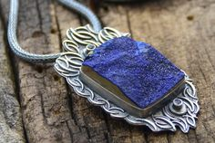 Azurite Stone Sapphire Sterling Silver Necklace One of by joykruse, $395.00