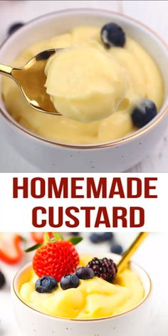 Homemade Custard Recipe (Pastry Cream) – quick and easy to make, foolproof custard recipe that can be served on its own, or used as a cake, pie, tart and pastry filling. all about pie recipes Pudding Desserts, Custard Desserts, Köstliche Desserts, Delicious Desserts, Dessert Recipes, Frozen Custard Recipes, Vanilla Pudding Recipes, Homemade Vanilla Pudding, Homemade Pancake Syrup
