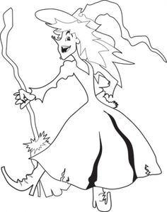 halloween coloring page witch